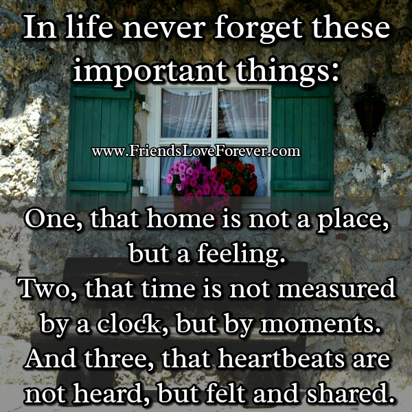 In life, never forget these important things